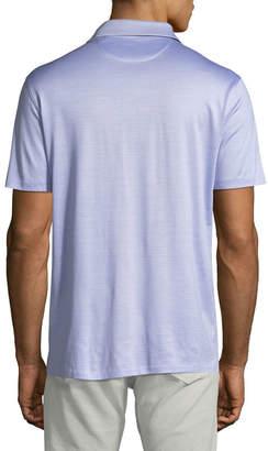 Men's Needle Stripe Cotton/Silk Polo Shirt