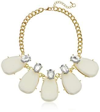 White Large Teardrop Statement Necklace