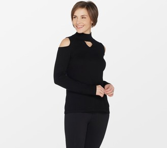 Susan Graver Rayon Nylon Cold Shoulder Mock Neck Sweater