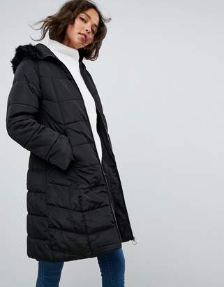 Asos DESIGN Longline Puffer Coat with Faux Fur Trim Hood