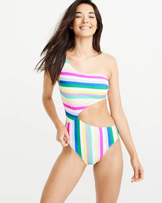 Abercrombie & Fitch One Shoulder Rainbow One Piece Swimsuit