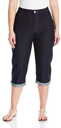 Lee Indigo Women's Plus-Size Comfort Waist Cuff Capri