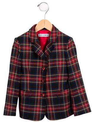 Dolce & Gabbana Girls' Plaid Wool Blazer w/ Tags navy Girls' Plaid Wool Blazer w/ Tags