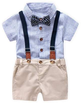 Goodtrade8® Clearance Sale! Toddler Baby Boy 4 Piece Outfit Gentleman Bowtie Suspenders Shorts Short Sleeve Shirt Boaysuit Overall Pants Clothes