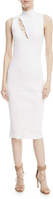 Cushnie et Ochs Mock-Neck Sleeveless Dress with Ring Details