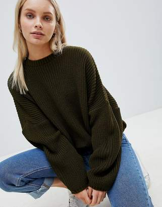Asos Design Chunky Jumper In Crop With Volume Sleeve