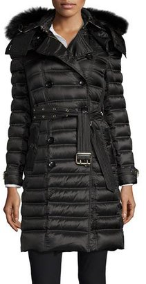 Burberry Chesterford Double-Breasted Fur-Hood Quilted Coat, Black $1,495 thestylecure.com