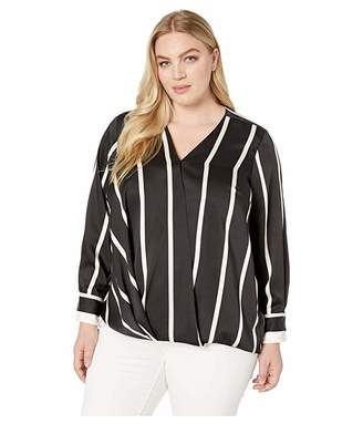 be4bab3c77 Vince Camuto Specialty Size Plus Size Long Sleeve Dramatic Stripe Front Wrap  Blouse