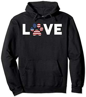 American Flag Love Dog Paw 4th of July Hoodie