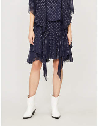See by Chloe Tiered metallic polka dot chiffon mini skirt
