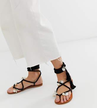 a20e94e0f1 Asos Design DESIGN Wide Fit Fields embellished tie leg flat sandals