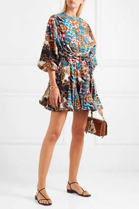 Rhode Resort Ella Pleated Printed Cotton-poplin Mini Dress - Blue