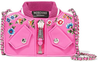 Moschino - Embroidered Leather Shoulder Bag - Pink $1,525 thestylecure.com