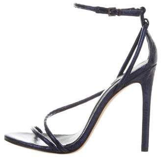 Brian Atwood Snakeskin Ankle Strap Sandals