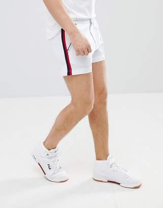 Fila Vintage stripe detail retro shorts in white