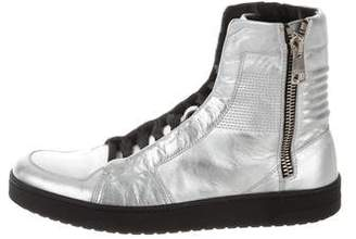 Gucci Metallic Leather High-Top Sneakers