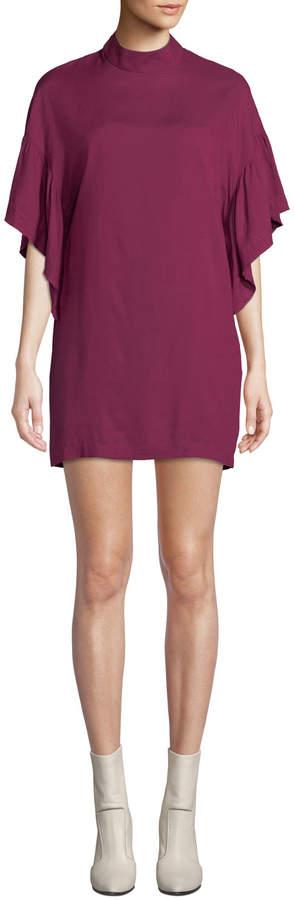 Iro Theifya Cape-Sleeve Mock-Neck Shift Dress