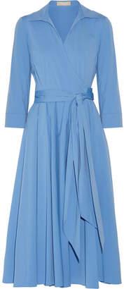 Michael Kors Collection - Cotton-blend Poplin Wrap Midi Dress - Blue $1,395 thestylecure.com