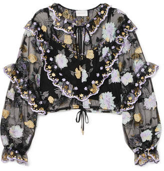 Alice McCall Ruffled Embroidered Tulle Blouse - Black