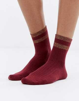 Monki socks with glitter stripe on top in burgundy