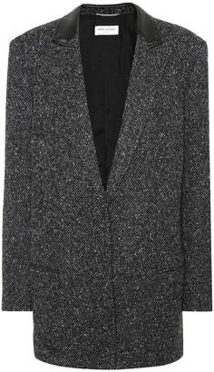Saint Laurent Leather-trimmed wool blazer