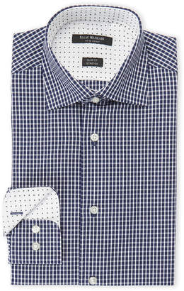 Isaac Mizrahi White Framed Navy Print Slim Fit Stretch Dress Shirt