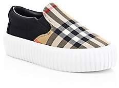 Burberry Kid's Erwin Tartan Platform Sneakers