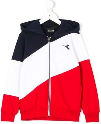 Diadora Junior signature stripe zip-up hoodie