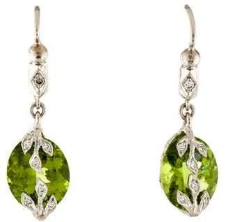 Cathy Waterman Platinum Peridot & Diamond Drop Earrings