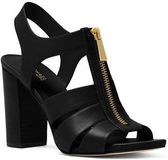 MICHAEL Michael Kors Women's Damita Leather Zip High Heel Sandals