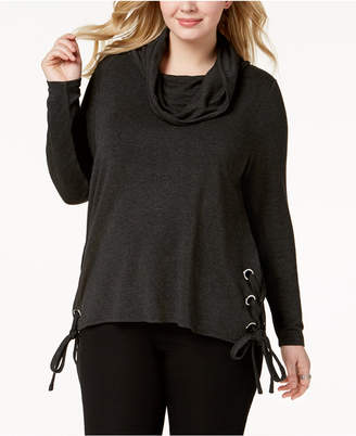 Belldini Plus Size Lace-Up Sweater