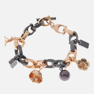 Coach Women's Charming Links Multi Charm Bracelet - Hematite