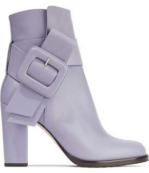 Valentino Buckled Leather Ankle Boots