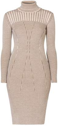 Rumour London - Cleo Oatmeal Two-Tone Ribbed Knit Dress