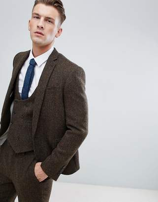 Asos DESIGN slim suit jacket in 100% wool Harris Tweed in brown herringbone