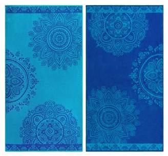 Superior Egyptian Cotton Floral Mandala Beach Towel (Set of 2)