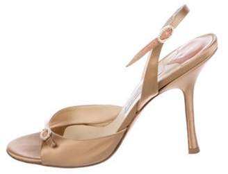 Jimmy Choo Satin Slingback Sandals Gold Satin Slingback Sandals