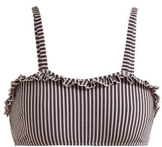 Solid & Striped The Leslie Ruffle Trimmed Striped Bikini Top - Womens - Navy