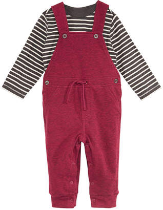 First Impressions Baby Boys 2-Pc. Striped T-Shirt & Marled Overalls Set, Created for Macy's