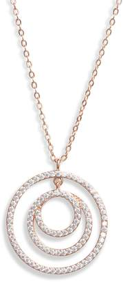 Nordstrom Double Circle Cubic Zirconia Pendant Necklace