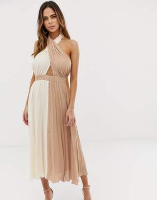 Asos Design DESIGN twist neck pleated midi halter dress