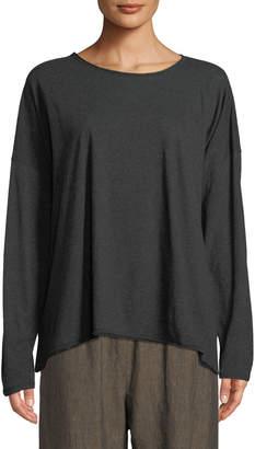 eskandar Long-Sleeve Scoop-Neck Pima Cotton Top