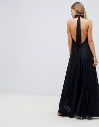 Asos DESIGN Vanessa Backless Halter Pleated Maxi Dress