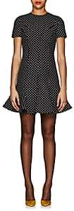 Valentino Women's Dotted Wool-Silk Crepe Dress - Black