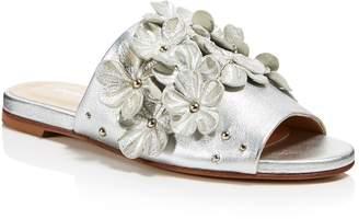 Charles David Women's Sicilian Metallic Leather Embellished Slide Sandals