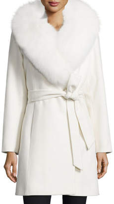 Sofia Cashmere Fur-Collar Belted Wrap Coat