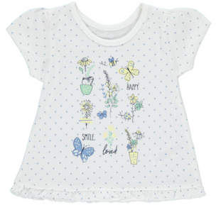 George White Polka Dot Flower T-Shirt