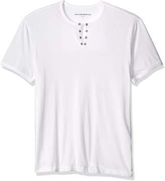 John Varvatos Men's Eyelet Henley Shirt, Grey Heather
