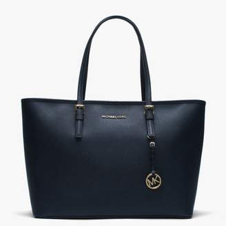 Michael Kors Jetset Medium Navy Leather Multifunctional Top Zip Tote Bag