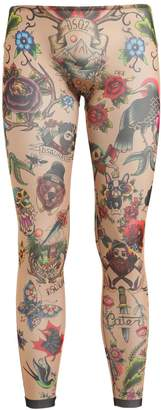 Tattoo Printed Sheer Tulle Leggings